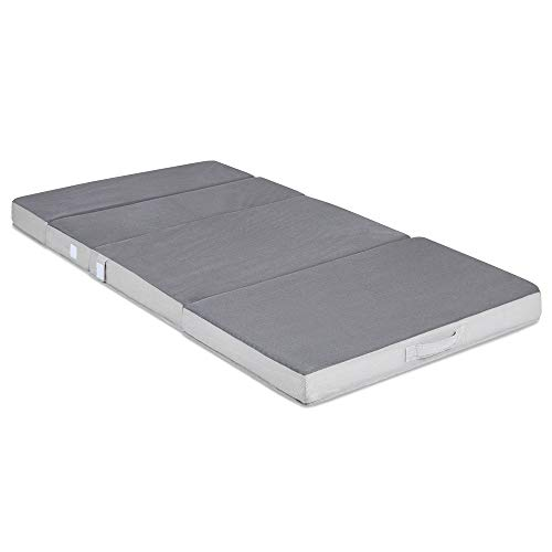 The grey colored Best Choice Products Folding Mattress Topper fully unfolded in a white background