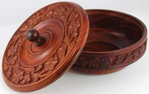 AzureGreen RB339 Wooden Ritual Bowl With Lid -