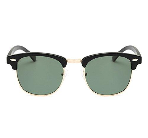 de medios mujeres hombres marco los Gafas Verde los y hombres sol del clásicos polarizadas de de medio UV400 de las retro Oscuro Negro qZHSq0w