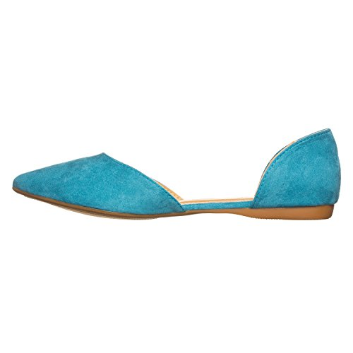 Toe Pointed Suede Turquoise D'Orsay Riley Flat Side Riverberry Open Women's vfxqwwa
