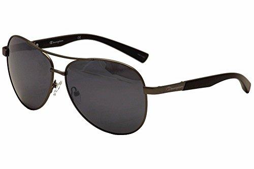 Champion Men's Matte Gunmetal metal alloy oval Sunglasses - Champion Polarized Sunglasses