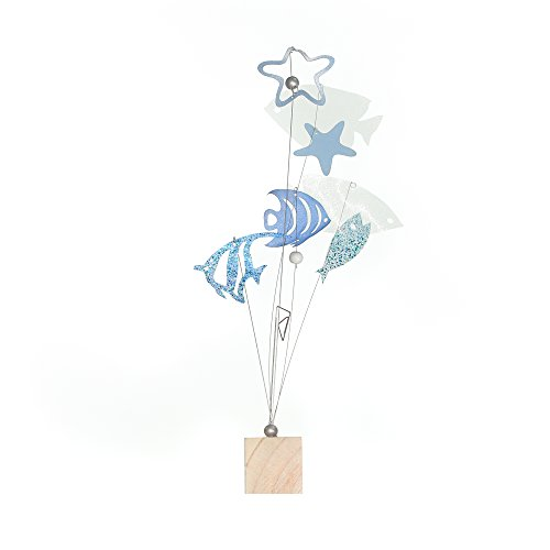 Fish Place Card Holders (Roser Life Photo Holder Tree Handmade Tabletop Picture Display Blue White Tropical Fish Decor (Pack of 1))