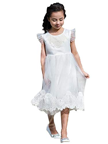 Just Couture Big Girls White Lace Tulle Knee Length Junior Bridesmaid Dress 8 from Just Couture