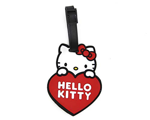 CellDesigns Cartoon Luggage Tag Suitcase ID Tag with Adjustable Strap (Hello Kitty with Heart) ()