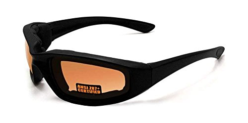 Maxx SS1 Sport Motorcycle Foam Padded Sunglasses Black Frame with HD Amber Lens