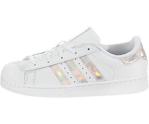 adidas Originals Unisex-Kids Superstar Shoe (2 M US Little Kid) White/Iridescent