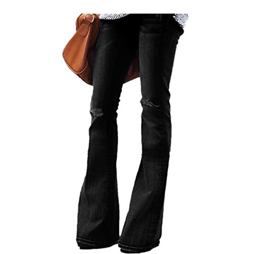 scaling ❤Jeans for Women Pants Women Hight Waisted Skinny Hole Denim Jeans Stretch Slim Pants Bell-Bottoms Jeans (Black, S) ()