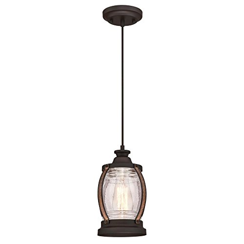 Westinghouse Lighting 6361700 Canyon One-Light Mini, Oil Rubbed Bronze Finish with Barnwood Accents and Clear Seeded Glass Indoor Pendant,