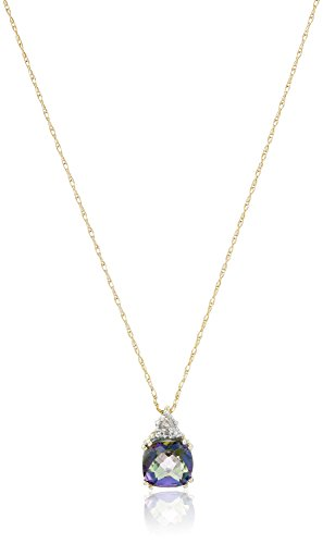 10k Yellow Gold, Mystic Topaz, and Diamond Pendant Necklace, 18""