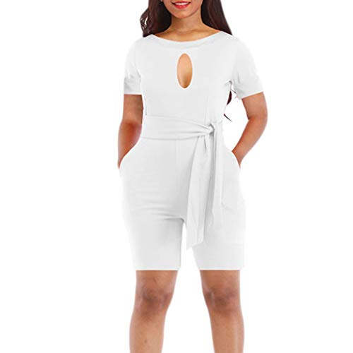 Corriee Rompers for Women Clubwear Keyhole Short Sleeve O Neck Solid Color Belted Office Jumpsuit with Pockets White