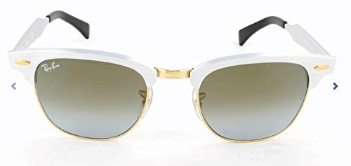 Ray-Ban RB3507 Clubmaster Aluminum Square Sunglasses, Brushed Silver/Blue Flash Gradient, 51 ()