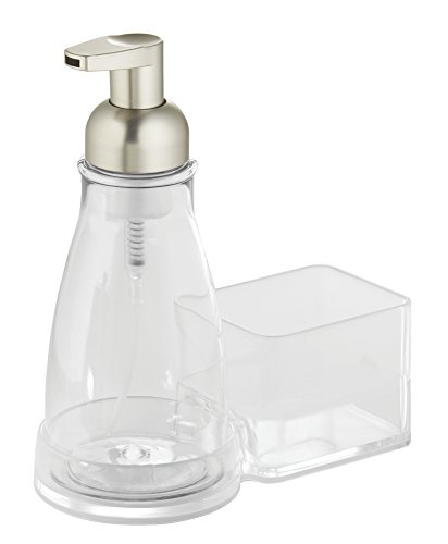 InterDesign Sinkworks Foaming Soap Dispenser Pump and Sponge Caddy - Kitchen Sink Organizer, Clear/Satin