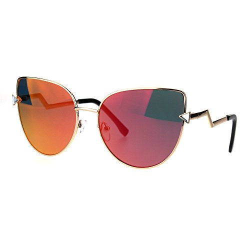 Color Mirror Goth Cat Eye Crooked Lightening Bolt Metal Sunglasses Gold - Crooked Sunglasses