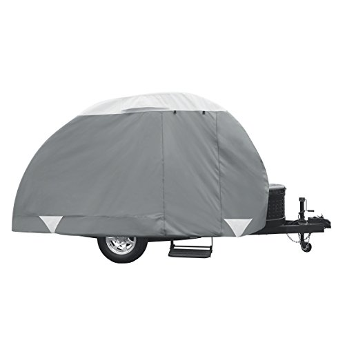 Classic Accessories OverDrive PolyPRO 3 Deluxe Teardrop Trailer Cover, Fits 10' - 12' Tab & Clam Shell Trailers - Max Weather Protection with 3-Ply Poly Fabric Roof RV Cover (80-298-163101-RT)