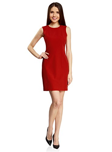 oodji Collection Mujer Vestido Básico sin Mangas Rojo (4500N)