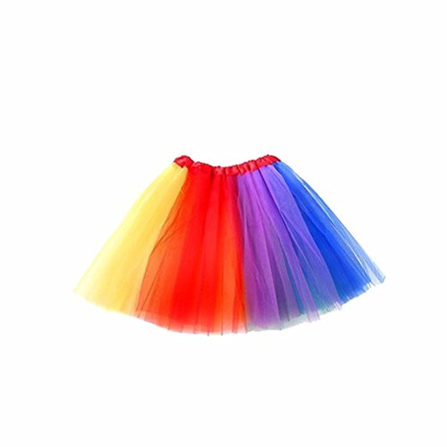 LUOEM Rainbow Tutu Skirt Suit Cosplay Costume with Headband Arm Warmer Leg Stocking Ruffle Tiered Tutus Dress For Kids Girls Carnival Party by LUOEM (Image #1)