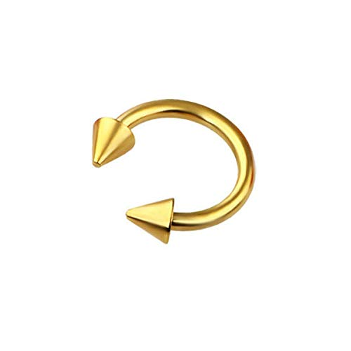 (4pc 16G 1.2mm Horseshoe Bar Circular Barbell Ring Eyebrow Lip Nose Cone Spike (Colors - Gold))