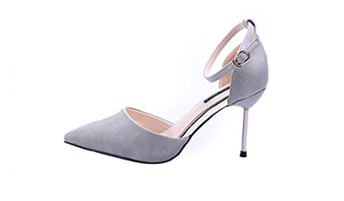 Head Lady Heels One Shoe 9Cm Work Hollow Single Grey Heel Spring Shoes Sharp Buckle 35 Leisure MDRW Fashion Word Elegant Fine Metal Heel High dOWwqaxZ