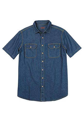 Sleeves Denim Shirt Stonewash Short - Boulder Creek Men's Big & Tall Short-Sleeve Denim Shirt, Stonewash Denim Big-2XL