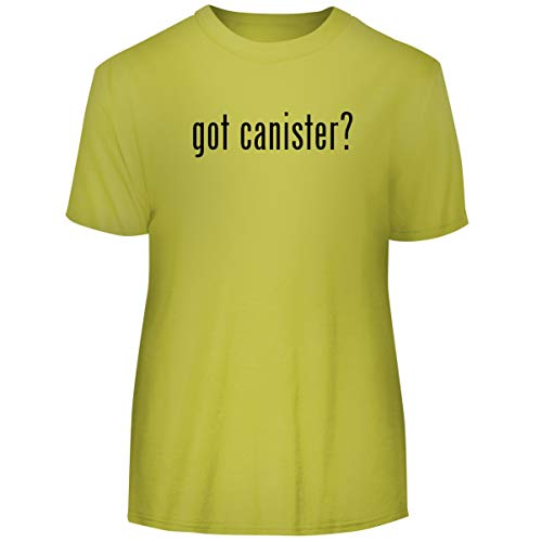 (One Legging it Around got Canister? - Men's Funny Soft Adult Tee T-Shirt, Yellow, Medium)