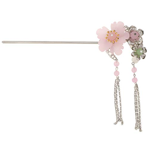 Elegant Lady Ancient Chinese Hair Stick Headdress Tassel Statement Hairpin (Color - Pink) ()