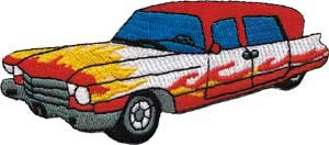 (Novelty Iron on Patch - Car Culture Ambulance Hot Rod Flames Roadster Logo)