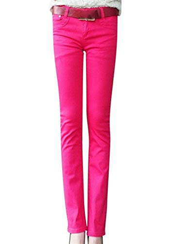 Acampanados Stretch Micro Pantalones Sólido Color Slim Skinny Casuales Jeans Rose Mujer 2 De Fit Bolsillos Con Botón Casual zFzP8qr