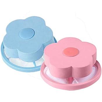 Pet1997 2PCS Flower-Type Washing Machine Floating Lint Mesh Bag Hair Filter Net Pouch, Laundry Mesh Filtering Hair Removal Floating Filter Bag Washer Clean (Blue + Pink) (Blue & Pink)