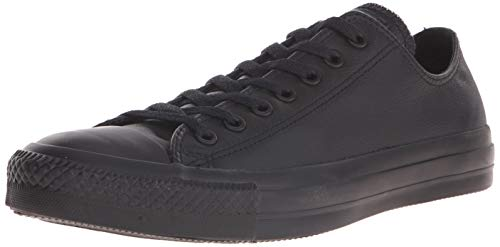 Converse Chuck Taylor All Star Leather Low Top Sneaker, Black Mono, 8.5 M US