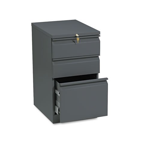 HON Brigade Series Mobile Pedestal - 15quot; x 19.9quot; x 28quot; - 3 x Box, File Drawer(s) - Letter - Security Lock, Ball-bearing Suspension - Charcoal Gray ()