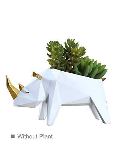 HomeBerry Succulent Cactus Planter Flower Pot Rhino Figurine Sculpture Animal Statue Home Decor Gift Decoration Hand Painted Polyreisn 18cmL