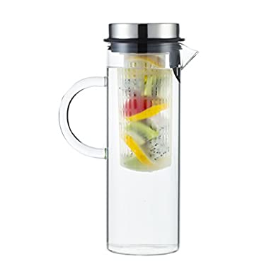 Perlli Elegant Fruit Infusion Water Pitcher - Glass Water Pitcher For Lemon Fruits Herbs Ice Tea & More - Top Quality Glass With Stainless Steel Lid - Flavor Infuser Pitcher - 1300ml/44oz
