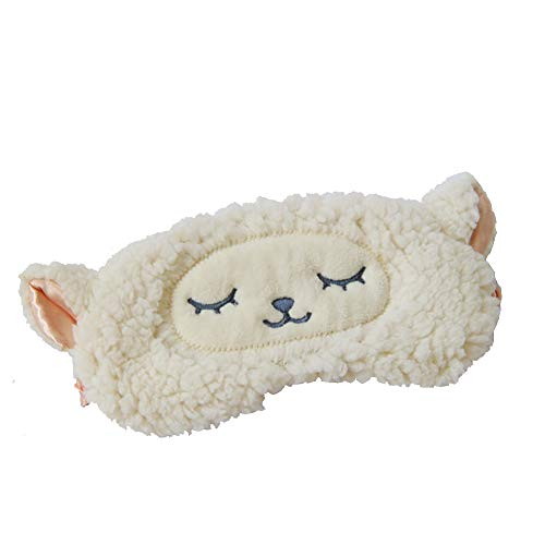 Shinywear Girls Eyeshade Sleeping Masks Lamb Wool Sheep Cute Plush Eye Cover Patch for Travel Camping Blinders