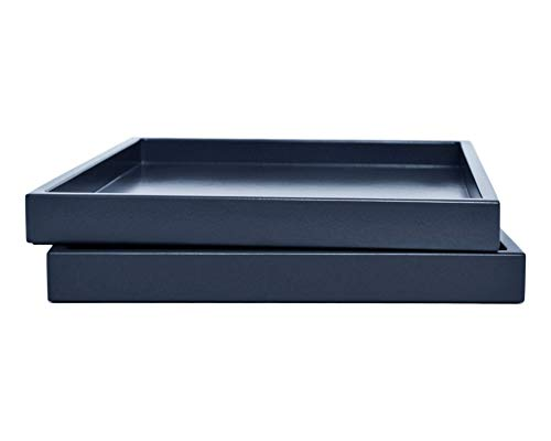 Dark Navy Blue Coffee Table Ottoman Serving Tray without Handles Low Profile Shallow Decorative Butler Server Medium to Extra Large