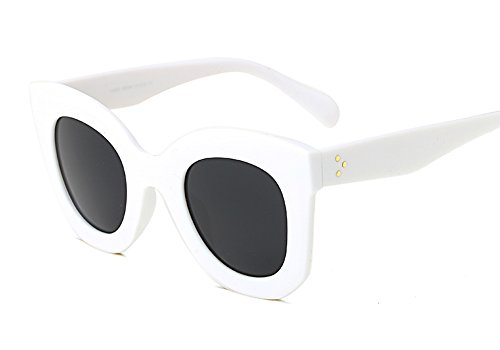 Butterfly Sunglasses Semi Cat Eye Glasses Plastic Frame Clear Gradient Lenses (White, - Sunglasses 1960s
