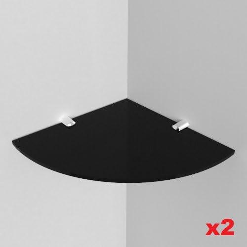 Expression Products - Dos estantes de acrílico para esquina (5 mm, acrílico, tamaño 200 mm, aproximadamente 8 pulgadas), muestra de material de ficha para carretilla incluida por envío, color negro: Amazon.es: Hogar