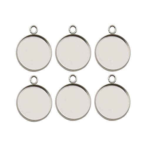 30pcs Fit 18mm Stainless Steel Round Blank Bezel Pendant Trays Base Cabochon Settings Trays Pendant Blanks for Jewelry Making DIY Findings