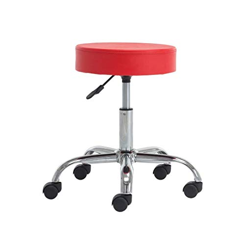 YUIKY Rolling Stools Chair Height Adjustable Smooth Wheels PU Leather Cover Cushion Office Desk Chair (red)