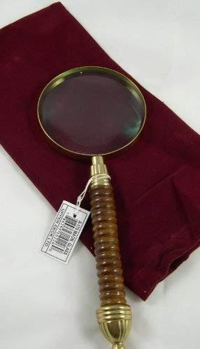 Solid Brass Magnifying Glass w/ Wood Handle & Felt Bag