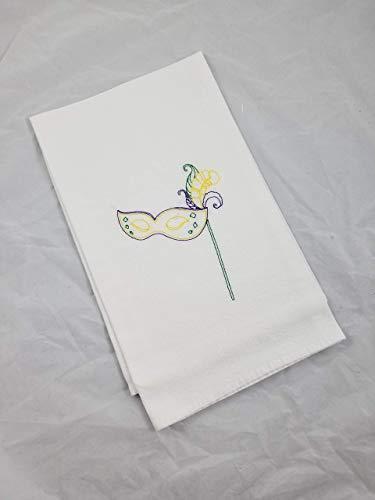 Mardi Gras Mask Embroidered Cotton Kitchen Flour Sack Tea Towel