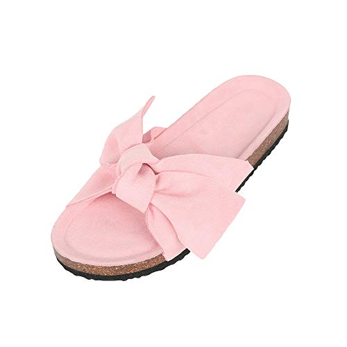 Ruanyu Womens Slide Sandals Bowknot Open Toe Slip On Comfortable Cork Flats Pink
