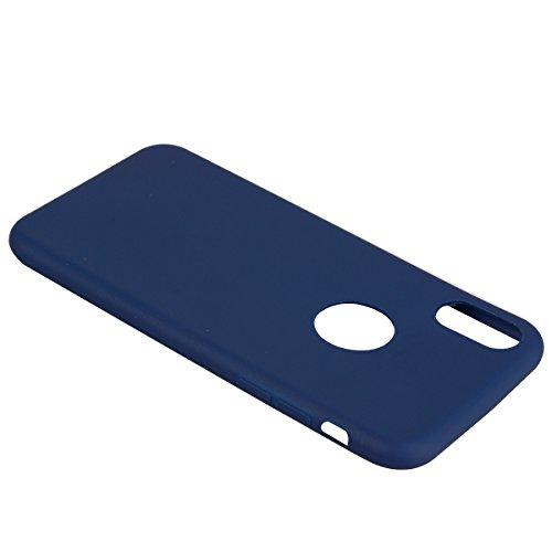 iPhone X Hülle , Fashion Blau TPU Leicht Weich Tasche Schutzhülle Silikon Handyhülle Stoßdämpfende Clear Schale Fall Case Shell für Apple iPhone X