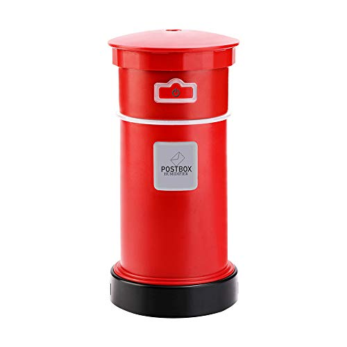 EKIMI Multifunctional Post Box USB Mini Humidifier Aroma Air Diffuser Portable Mist Maker with Fan LED Light for Car Travel ()