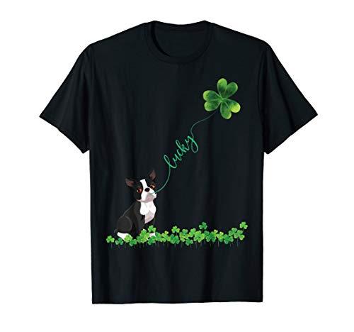 Lucky Boston Terrier Dog Shamrock St Patrick day Tshirt