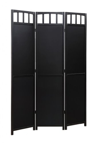 Legacy Decor 3-panel Solid Wood Room Screen Divider Black