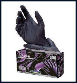 Adenna Shadow Black Nitrile Powder-Free Exam Gloves Large Case by Adenna