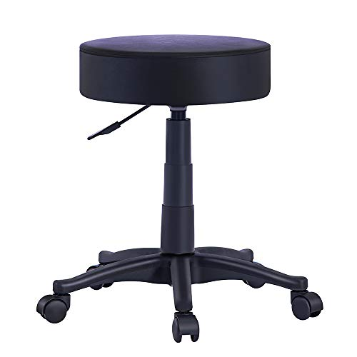 OFFICEFURNITURE ONLINE •Massage Stool Chair with Rolling Wheels and Hydraulic Height Adjustment for Workshop, Salons, Drafting (Black, PU)