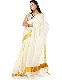 Exotic India Ivory Kasavu Puja Sari from Kerala with Golden Border