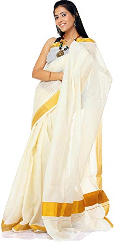 Exotic India Ivory Kasavu Puja Sari from Kerala with Golden Border