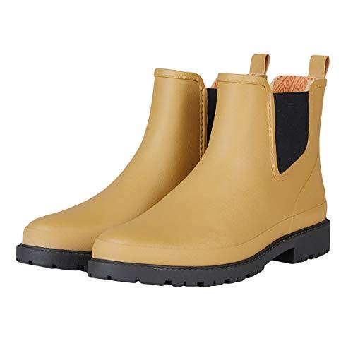 UNICARE Men's Chelsea Rain Boots Waterproof Slip on Shoes Nonslip Short Ankel Boots Rubber Rain Footwear Handmade, Khaki, US Size 8 - Handmade Shoes Boots